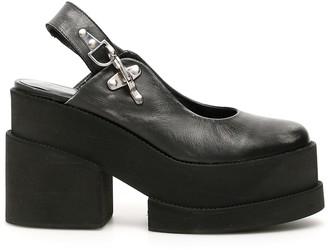 Ganni SLINGBACK WEDGES 40 Grey, Black Leather