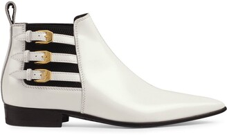 Gucci Pointed Side Buckle Ankle Boots