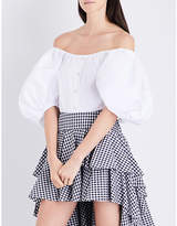 Caroline Constas Jolie off-the-shoulder cotton-blend top
