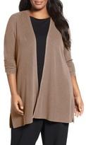 Eileen Fisher Plus Size Women's Sleek Ribbed Tencel Lyocell Cardigan