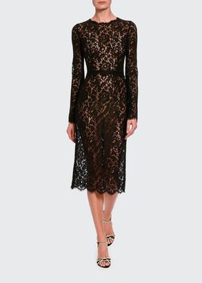 Dolce & Gabbana Classic Sheer Lace Long-Sleeve Midi Dress
