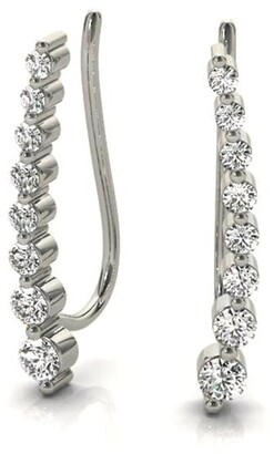 Amcor Design 14K Gold 0.20 CT Journey Ear Climbers Prong-Set Round Diamond Earrings