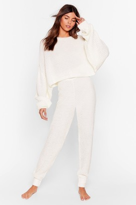 Nasty Gal Womens Lounge Your Here Sweater and Joggers Lounge Set - Cream