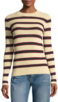 Etoile Isabel Marant Derring Striped Fitted Pullover Sweater, Ecru/Black