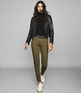 Reiss Lux - Mid Rise Skinny Jeans in Olive