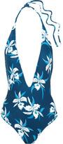 Mikoh Hinano Floral-print Halterneck Swimsuit - Blue