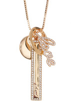 Vince Camuto Crystal Love Charm Long Necklace
