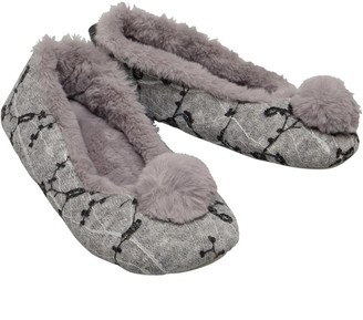 Bedroom Athletics Womens Evie Knitted Ballerina Slippers Grey Marl