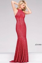 Jovani Long Fitted Sleeveless Lace Prom Dress 25100