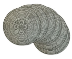 Design Imports Variegated Round Polypropylene Woven Placemat, Set of 6