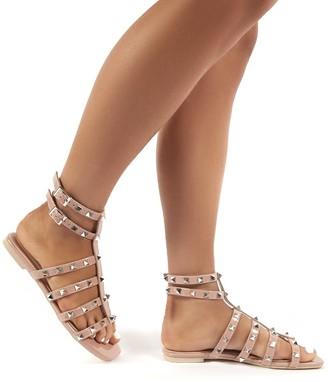 Public Desire Uk Publicity Wide Fit Stud Detail Strappy Gladiator Flat Sandals