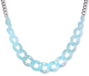 """GUESS Silver-Tone Crystal-Frosted Link Collar Necklace, 16"""" + 2"""" extender"""