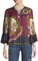 Etro Jungle Floral-Print Silk Lace-Up Blouse