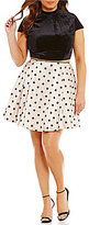 Jodi Kristopher Plus Flocked Polka Dot Two-Piece Dress