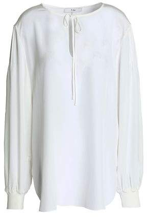 Tibi Pintucked Silk Tunic