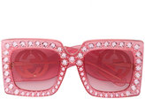 Gucci Hollywood Forever crystal embellished oversized sunglasses - women - Acetate/Zirconium - 57
