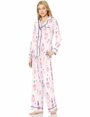 Munki Munki Women's Classic Long Sleeve Notch Collar and Pant Pajama Set