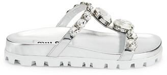 Miu Miu Jewelled Metallic Leather Slides