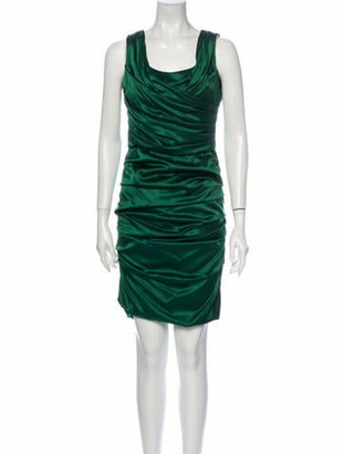 Dolce & Gabbana Silk Knee-Length Dress Green