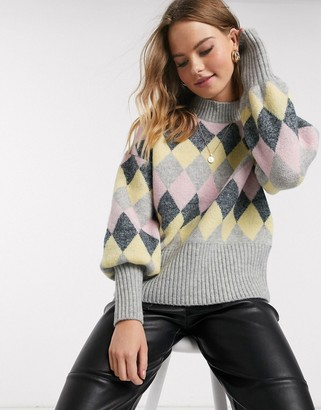 Y.A.S high neck sweater with puff sleeves in gray argyle print