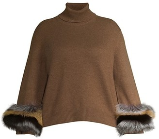 Lafayette 148 New York, Plus Size Cashmere Fox Fur-Cuff Turtleneck Sweater
