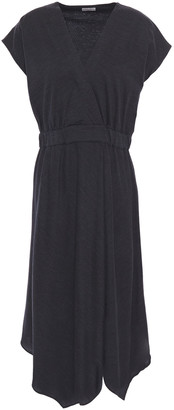 Brunello Cucinelli Wrap-effect Melange Wool-jersey Dress