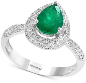 Effy Gemstone Bridal by Emerald (9/10 ct. t.w.) & Diamond (3/8 ct. t.w.) Pear Shaped Ring in 18k White Gold
