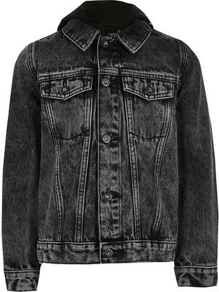 River Island Boys black Prolific hooded denim jacket