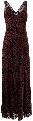 Leopard Print Flared Maxi Dress
