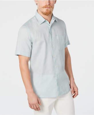 Tasso Elba Men Cross-Dye Short Sleeve Linen Shirt