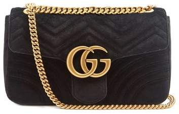 Gucci Gg Marmont Mini Velvet Quilted Shoulder Bag - Womens - Black