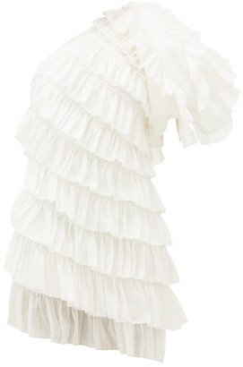 Aje Salt Lake One-shoulder Linen-blend Mini Dress - White
