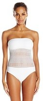 Anne Cole Women's Lace Crochet Bandeau One Piece Swimsuit