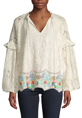 HEMANT AND NANDITA Lace Wide Raglan-Sleeve Cotton Top