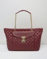Love Moschino Quilted Tote Bag With Pocket Detail