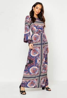 boohoo Woven Shirred Printed Maxi Dress