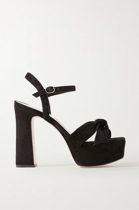 PORTE & PAIRE Knotted Suede Platform Sandals - Black