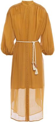 Zimmermann Gathered Cotton And Silk-blend Gauze Midi Dress