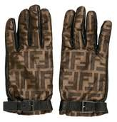 Fendi Zucca Leather-Trimmed Gloves w/ Tags