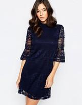 Warehouse High Neck Flute Sleeve Lace Dress