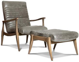 One Kings Lane Erik Accent Chair & Ottoman Set - Gray