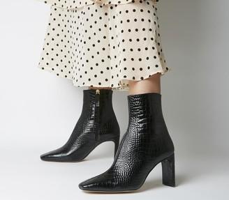 Office Alaya Smart Boots Black Croc Leather
