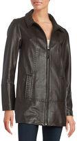 Jones New York Zip-Front Leather Coat