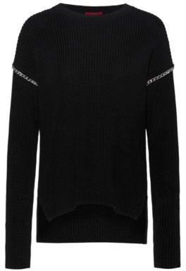 HUGO Relaxed-fit cotton sweater with chain trims