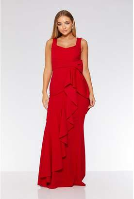 Quiz Red Bow Ruffle Front Maxi Dress