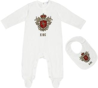Dolce & Gabbana Kids Flocked cotton bodysuit and bib set