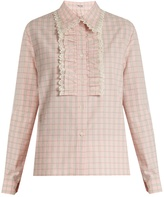 Miu Miu Jacquard-check ruffled cotton shirt