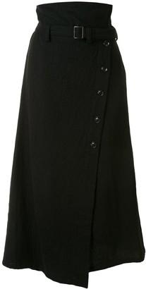 Y's Asymmetric Hem Wool Skirt