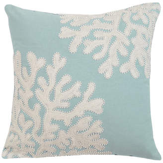Rightside Design Embroidered and Beaded Coral Pillow-Seafoam