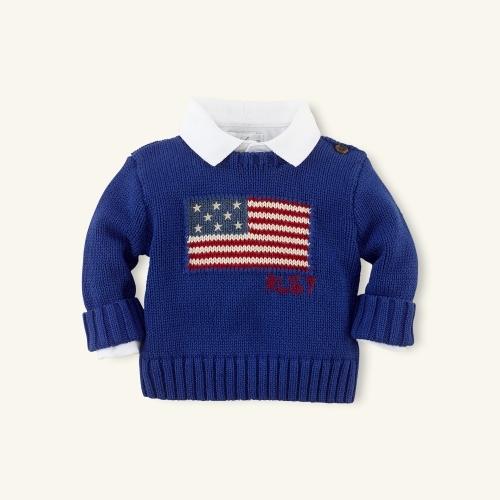 Cotton Flag Crewneck Sweater